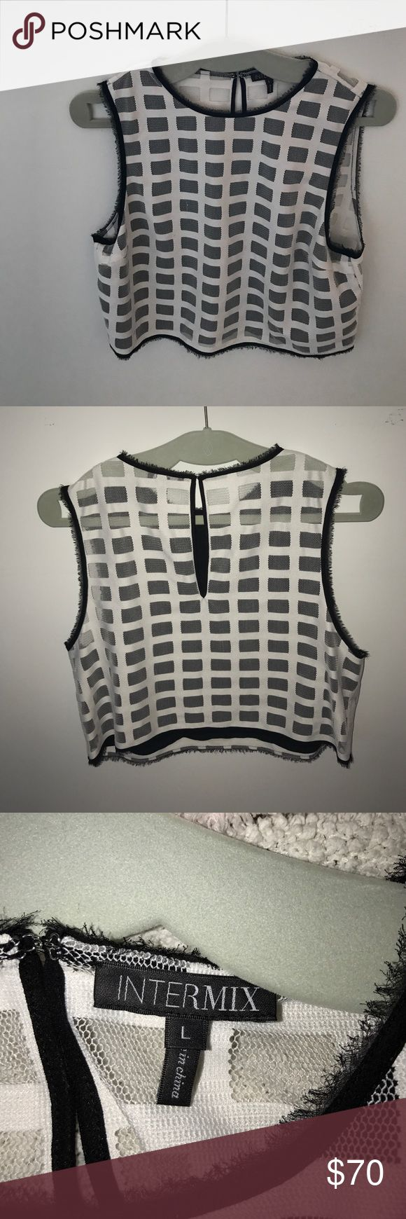 ALC Checkered Crop Top ALC cropped mesh top with black and white checker detail. I love this top but it's too small on me!! Pair it with jeans or a pair of black high waisted shorts Intermix Tops Crop Tops