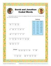 David and Jonathan Coded Words Sunday School Activity