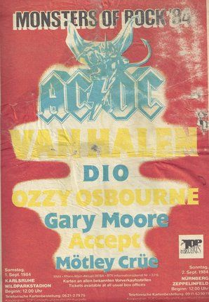 Monsters of Rock 1984 in Germany - This is probably the best concert I ever went to!
