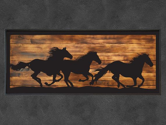 Metal Home Wall Decor Running Horses