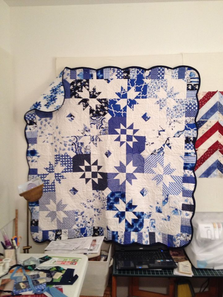 Disappearing hourglass pattern with Michael Miller Blue and White fabric line.