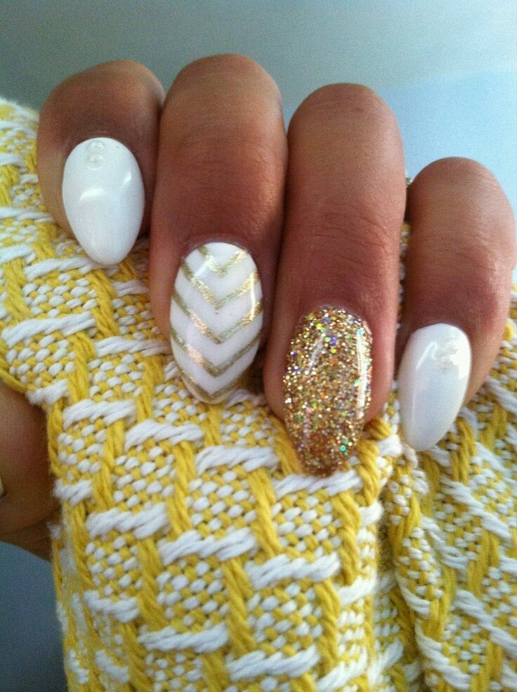 53 best nails images on pinterest nail designs make up and nail art 35 elegant and amazing white and gold nail art designs prinsesfo Choice Image