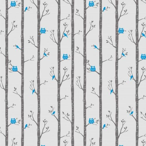Forest Owls Wallpaper in Teal by BC Magic Wallpaper.