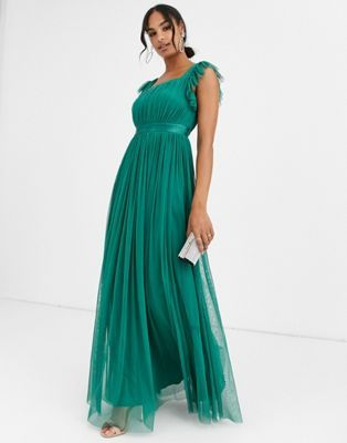 anaya with love frill maxi dress in emerald green cocktailkleid