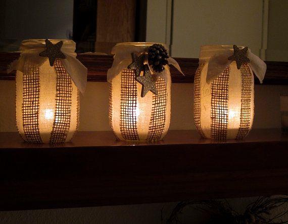 Christmas Mason Jar Decor Burlap and Muslin Shabby Chic Cottage Chic Centerpiece Holiday Decor on Etsy, $28.00