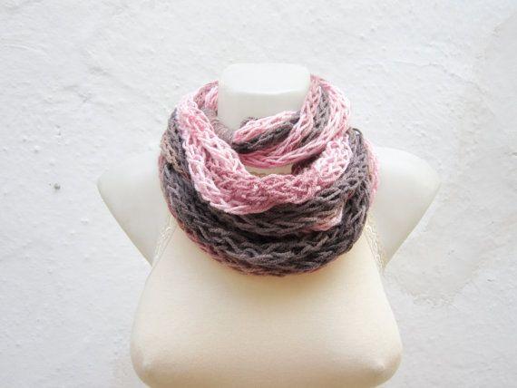 infinity scarf Finger Knitting Scarf Pink Brown  by scarfnurlu