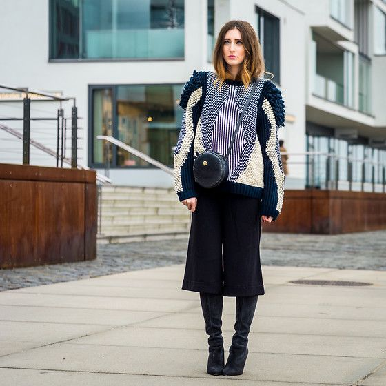 Peter Kaiser Overknee Boots, Weekday Culottes, & Other Stories Knit Sweater, Aigner Bag