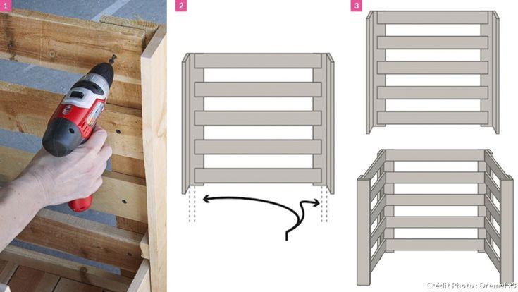cr er un composteur en bois jardini res de palettes. Black Bedroom Furniture Sets. Home Design Ideas