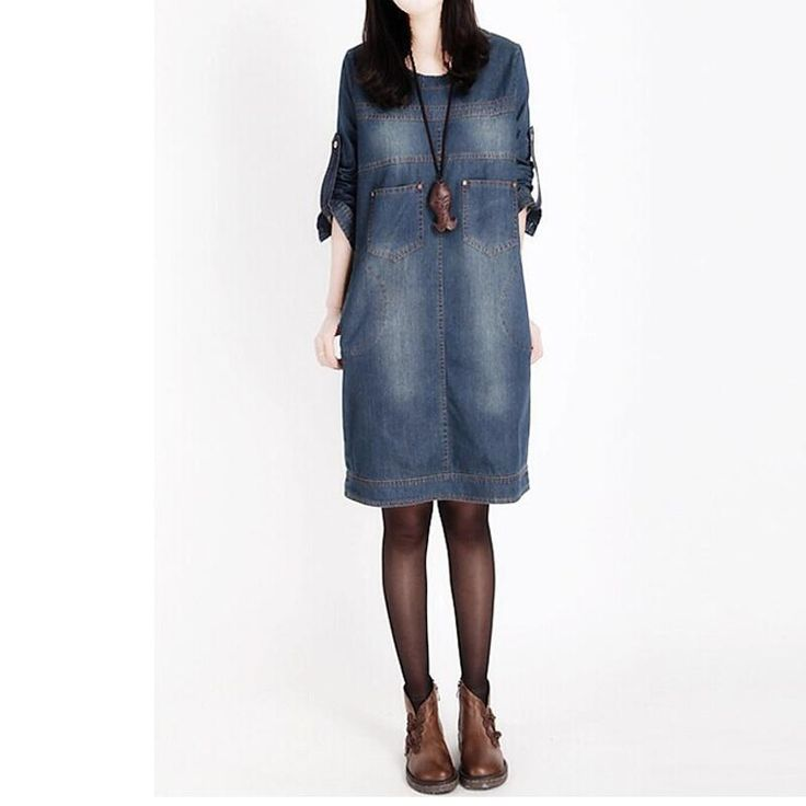 Spring Autumn Big Size Women Denim Dress Mill White Long-sleeved Straight Dress Plus Size Vintage Ladies Dress