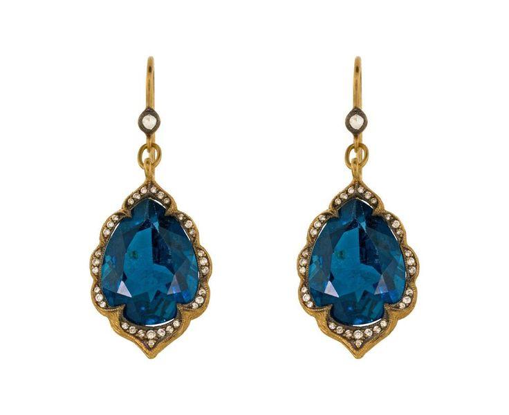Cathy Waterman  London Blue Topaz Arabesque Earrings