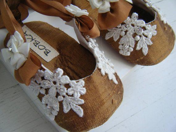 "Menina Silk cintas Ballet Shoes ""Wedding Cinnamon Spice '"