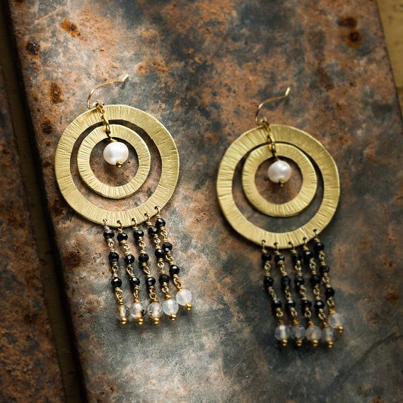 Handcrafted chandelier earrings, totally handmade.  In hand hammered copper, 18K gold plated and vitrified  With river pearl, black spinel, white labradorite