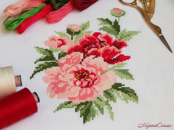 NejanaCersac Набор для вышивания крестом #РИОЛИС 815 Пионы #RIOLIS #xstitch #cross #stitch #needlework #flowers #вышивкакрестом #рукоделие