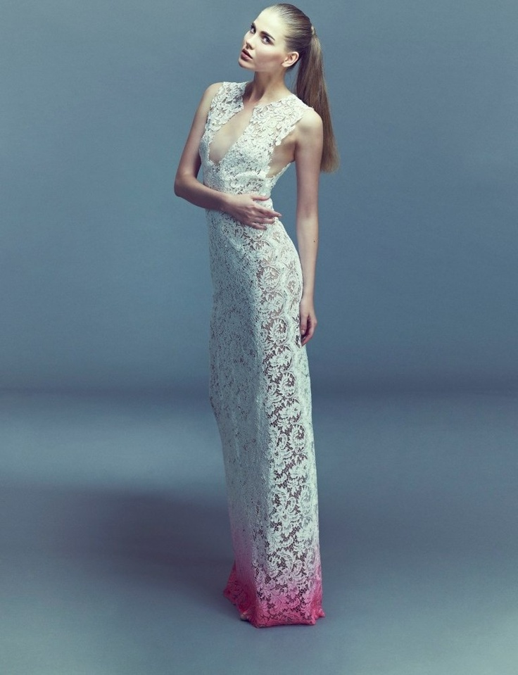 Long Airbrushed Lace Dress