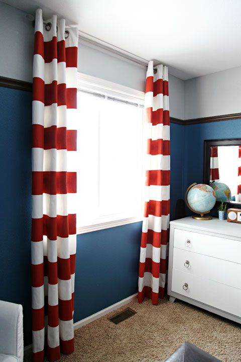 Curtains made from drop cloths with painted stripes (used Frog tape)