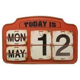 "Metal perpetual calendar with distressed date plates and an arched top.  Product: Calendar decorConstruction Material: MetalColor: Red and blackFeatures: Distressed finishArched topDimensions: 10.5"" H x 16.5"" W x 0.5"" D"