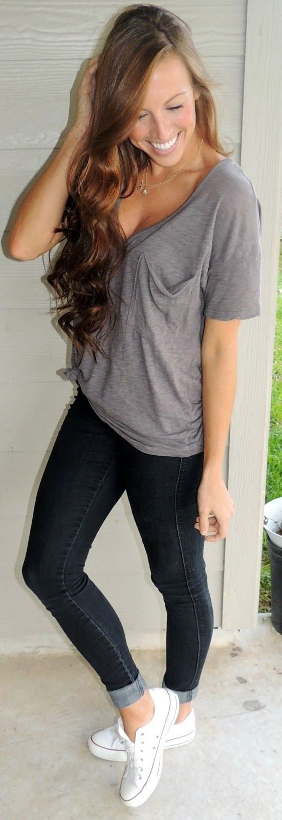 cute outfit with converse classics.