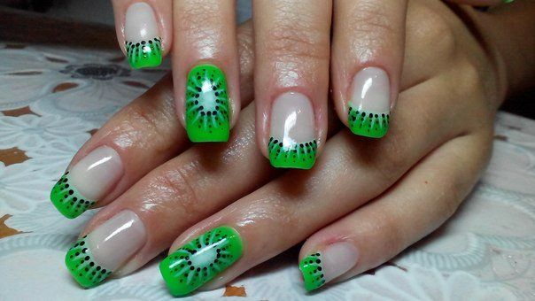 Bright green nails, Color french manicure, Fashion shellacnails, french manicure news 2016, Fruit nails, Green french manicure, Juicy summer nails, Kiwi nails