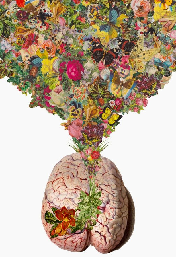 Something similar to this... brain sculpture with real flowers growing out of it. Hinds Feet Farm