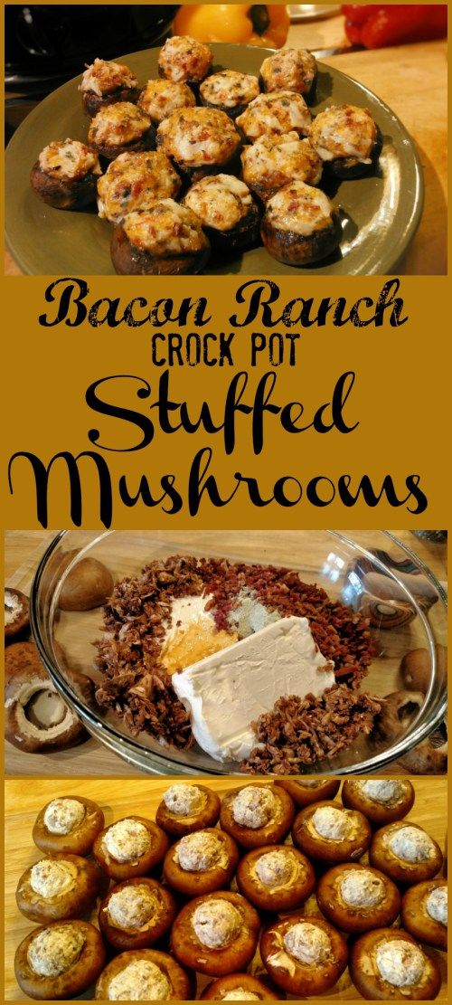 Bacon Ranch Crock Pot Stuffed Mushrooms! Find this & more deliciousness @ http://slowcookerkitchen.com