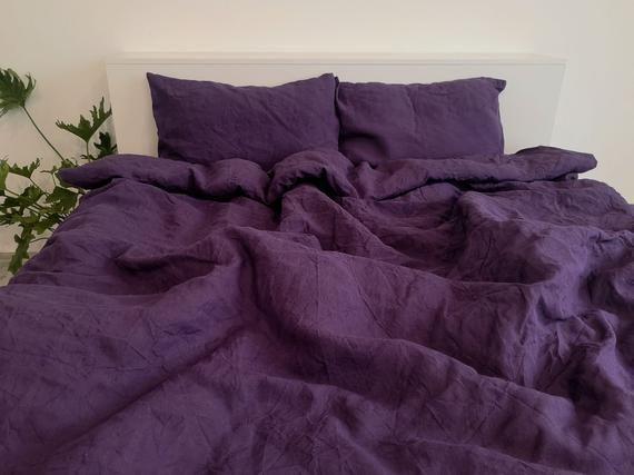 Deep Purple Linen Bedding Set 1 Duvet Cover 2 Pillowcases Etsy Purple Duvet Cover Purple Duvet Purple Bedding