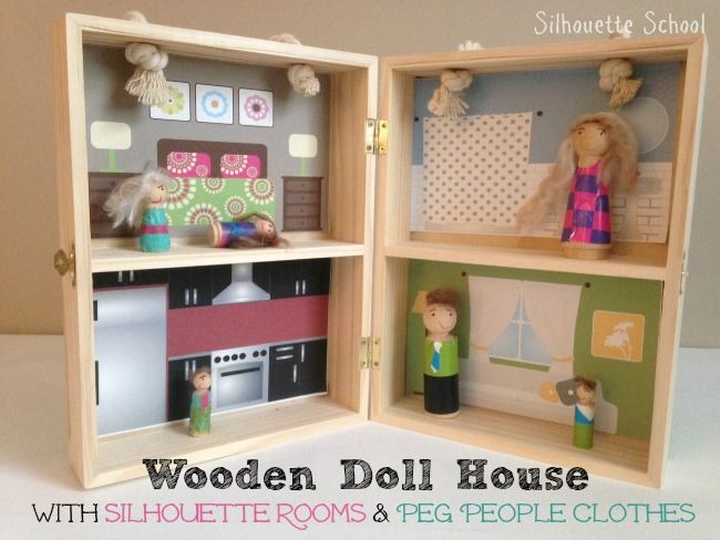 Wood Doll House and Peg People with Silhouette Clothes & Decor (Free Cut Files) ~ Silhouette School // We Made It by Jennifer Garner