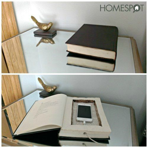 Hollowed out book for a hidden phone charging station