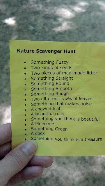 nature scavenger hunt - have them take pics of these things