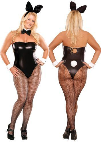 Plus size sexy bunny costume 6 piece set queen size
