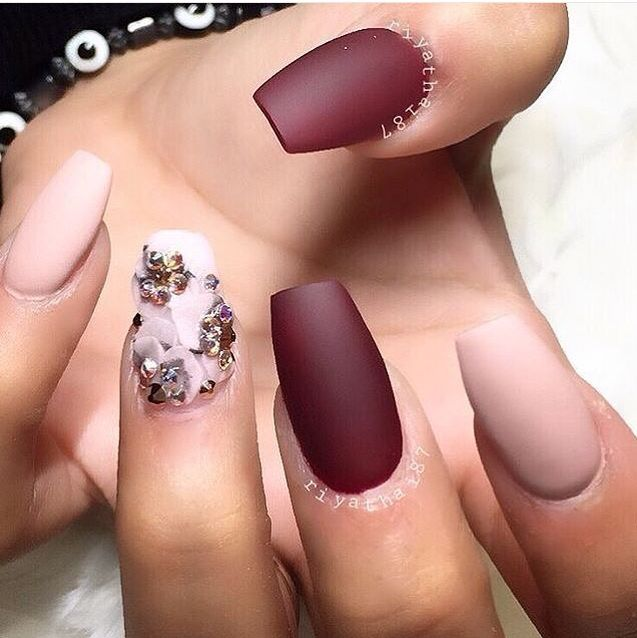 Matte nude and plum nails