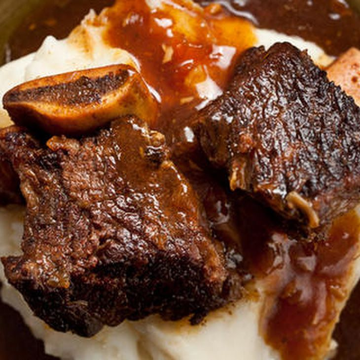 Pressure Cooker Cola-Braised Beef Short Ribs Recipe Recipe Main Dishes with kosher salt, paprika, ground black pepper, cayenne pepper, ground cumin, beef rib short, olive oil, garlic cloves, yellow onion, cola, soy sauce, worcestershire sauce, corn starch, water