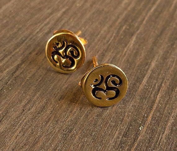 Gold Om earrings, Yoga post earrings, Gold studs, post, Om earrings.
