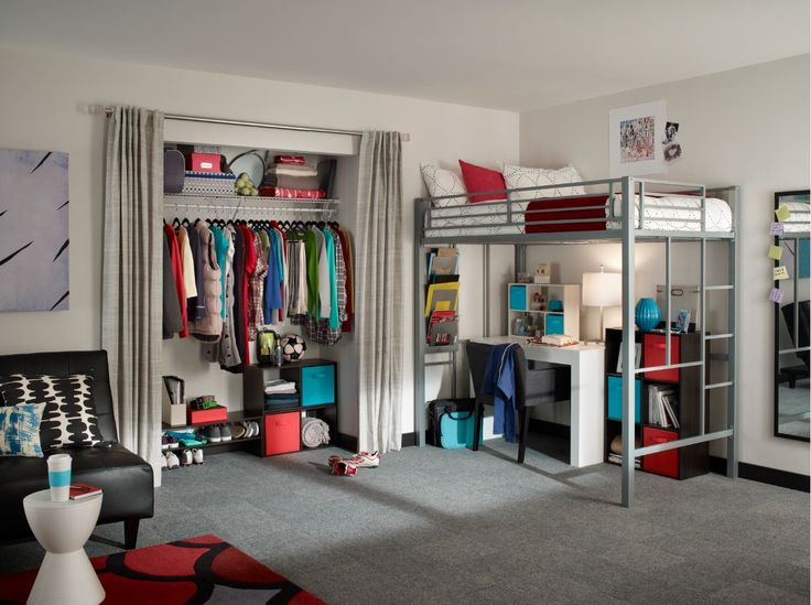 Design a beautiful and organized dorm room with ClosetMaid storage products. #dormroom #backtocollege