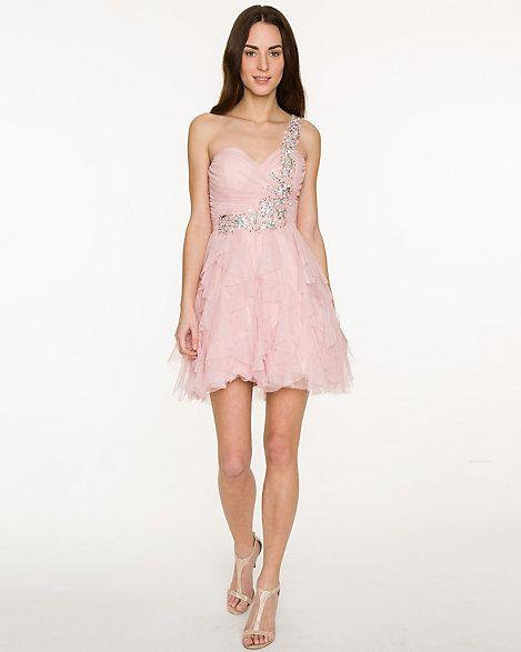 Sparkle Mesh One-shoulder Dress