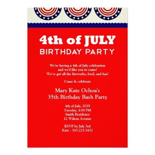 4th Of July Birthday Party Invitation