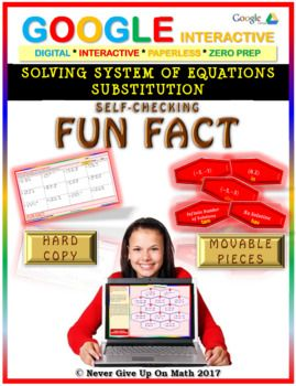 Fun Fact: Solve System of Equations Substitution(Google Interactive & Hard Copy)