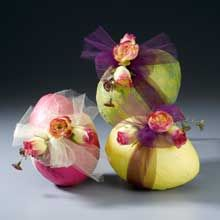 Tissue covered styrofoam eggs wrapped in tulle..love this!