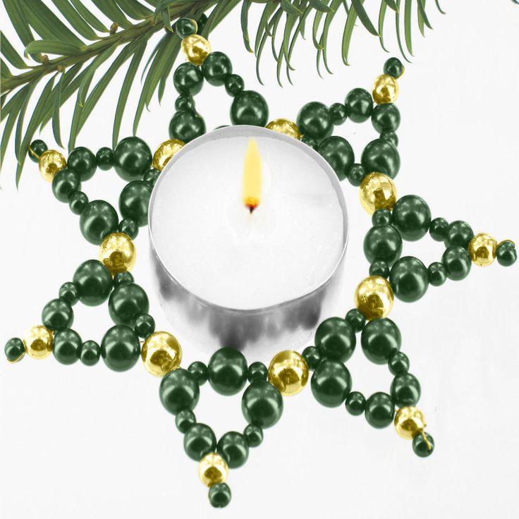 3 Teelicht-Sterne im Set - Zauberhafter Perlen-Weihnachtsschmuck « Weihnachtsschmuck « Weihnachtliches Basteln « Basteln im Junghans-Wolle C...