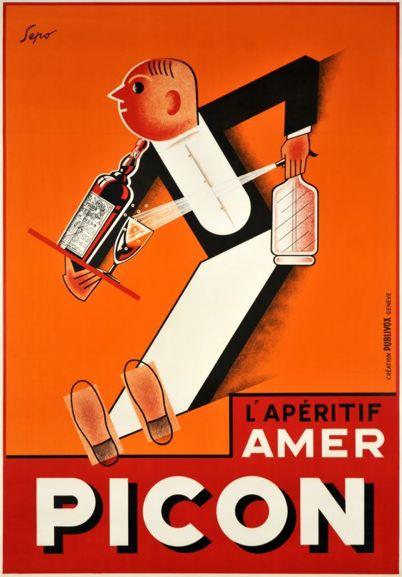 """By Sepo (Pozzati Severo), 1928, Aperitif """"amer Picon"""". Art-Deco (S)"""
