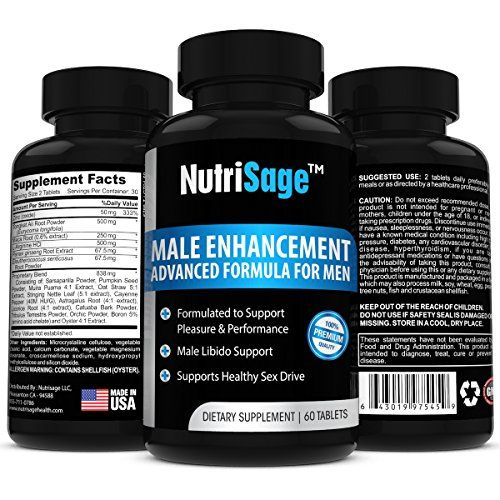 Best Male Enhancement Supplement By NutriSage-Top Rated Libido Enhancer & Male Sexual Booster With Maca Root - Increased Sex Performance & Stamina - High Quality Natural Testosterone Pills