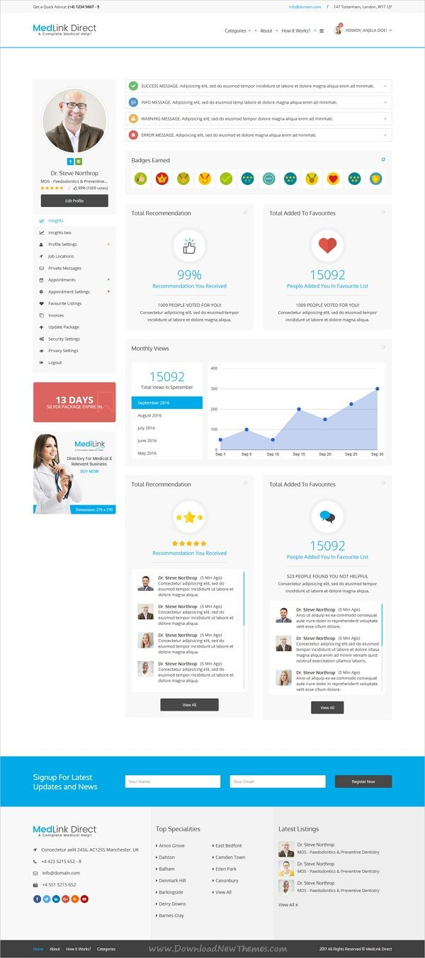 Medlink is a complete #HTML5 bootstrap template for professional #medical #directory website with 15 homepage layouts, appointment, private email messages and amazing features download now➩ https://themeforest.net/item/doctor-directory-html-template/19534690?ref=Datasata