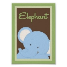 "5x7 ""Elephant"" Jungle Safari Baby Bedding Wall Art Posters"