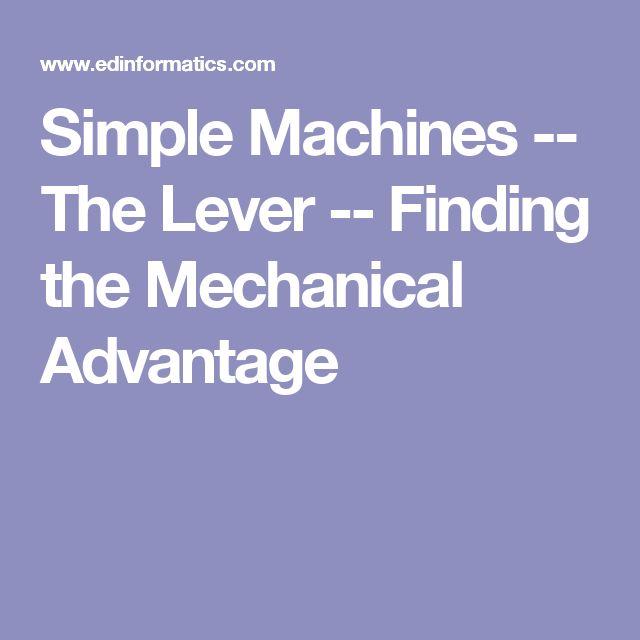mechanical advantage of a lever pdf