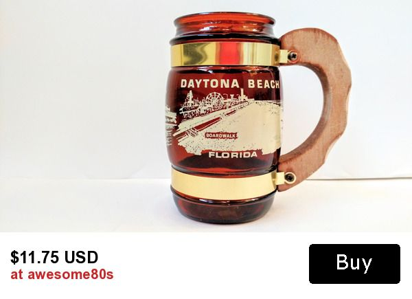 awesome retro siesta ware Daytona Beach, Floridy amber barrel mug with wood handle