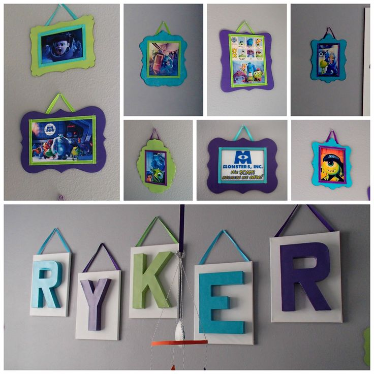 My Monsters Inc Nursery - Spray painted name letters hot glued on plain white canvas and craft store wood frames with images printed at home covered with Modge Podge and lined with ribbon.