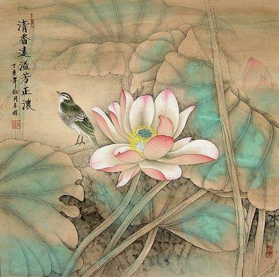 Paintings by Lou Dahua : Songbird and Lotus