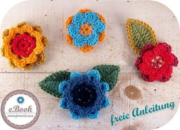 Klick gleich rein: Gehäkelte Blumen + Blüten sind hübsch. ✓ ✓ Die gratis Anleitung brauchst Du unbedingt - gut auch für Wollreste und als Applikation. ✓