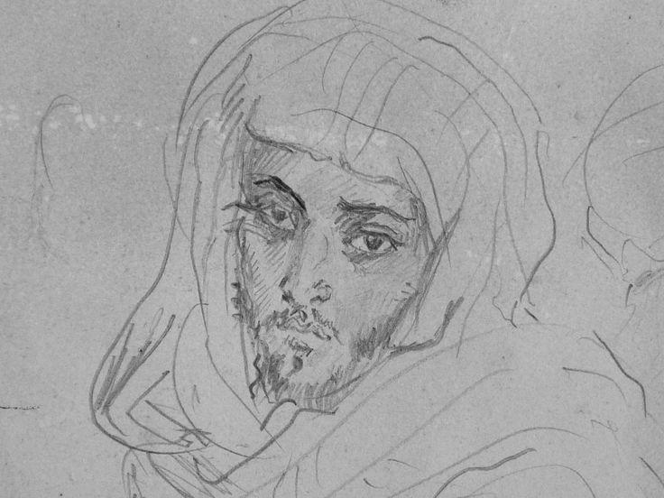 CHASSERIAU Théodore,1846 - Deux Arabes assis - drawing - Détail 06 - Dignité triste - Sad dignity -