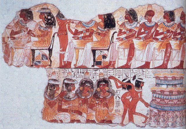 Detalle de un fresco pintado en la tumba de Nebamun en Tebas, Egipto. Pertenece a la colección del Museo Británico en Londres. Refleja una escena de danza en la dinastía XVIII del Antiguo Egipto.