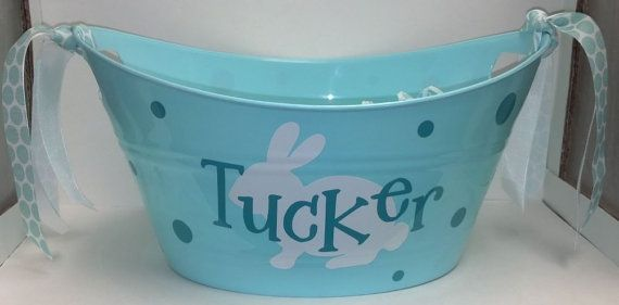 Easter gift baskets Personalized Monogrammed Easter Basket Tub on Etsy, $10.00